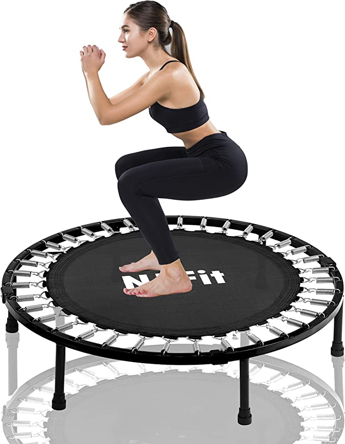 Gielmiy 40 Indoor Trampoline,Rebounder Trampoline Exercise Trampoline for Indoor,Garden//Workout Cardio,Foldable Fitness Trampoline for Adults-Max Limit 330 lbs
