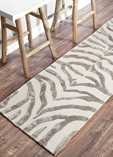 Animal Print Area Rug Contemporary Carpets Zebra 100/% Wool Faux Silk Mats Grey