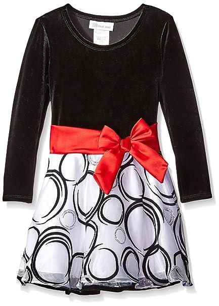 Bonnie Jean - Vestido - para niña negro/blanco/rojo 92 cm