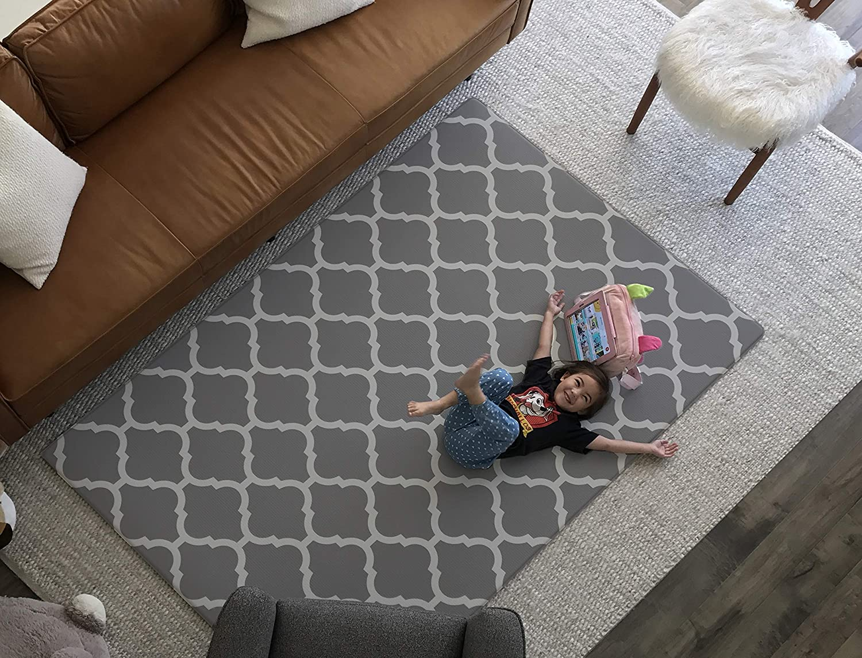 Premium Stylish Foam Floor Mat Cushy-Soft Thick Waterproof, Easy-to-Clean, Hypoallergenic, Non-Toxic, Pet-Friendly, Portable Baby Play Mat, Yoga Mat, Exercise Mat – Large Grey Modern Lattice