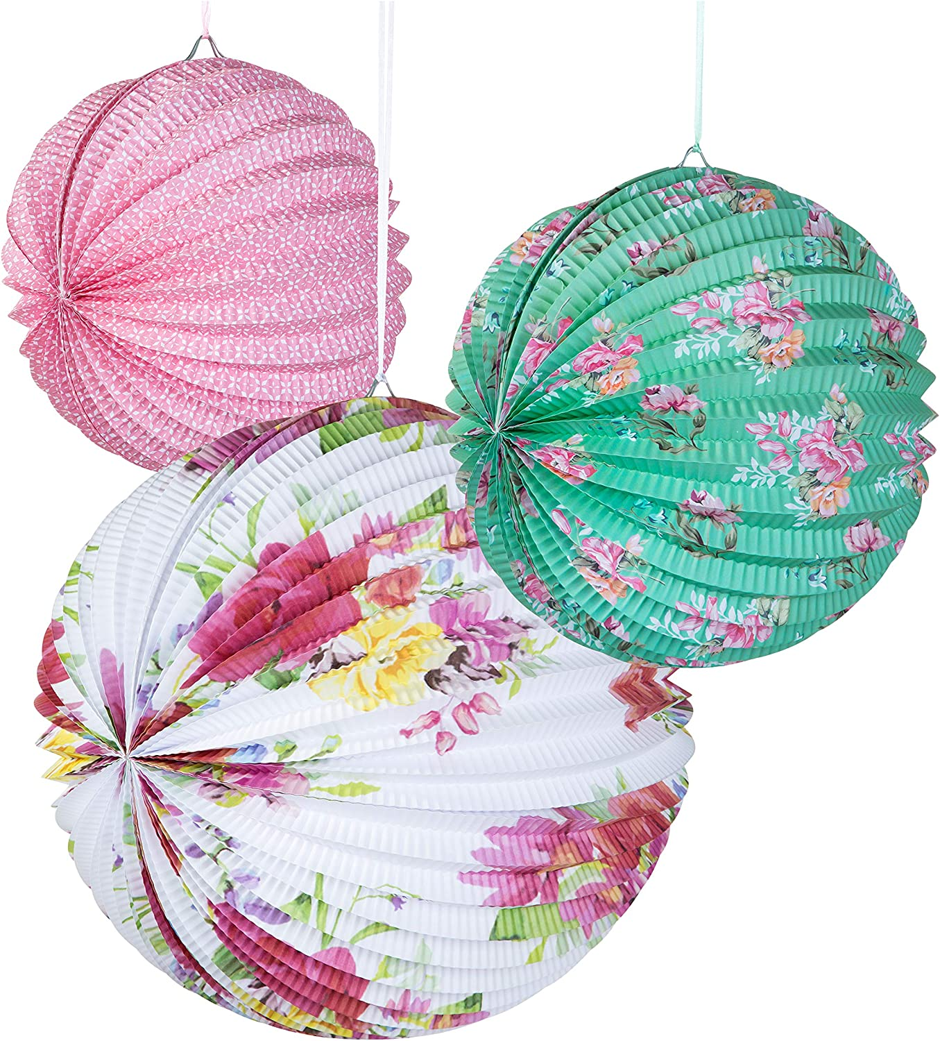 Talking Tables Tea Party Decorations Floral Paper Lantern Plates Vintage Party for Birthdays, Bridal shower, Baby shower, 3 Sizes, Pack of 3, Pastel colors, Model:
