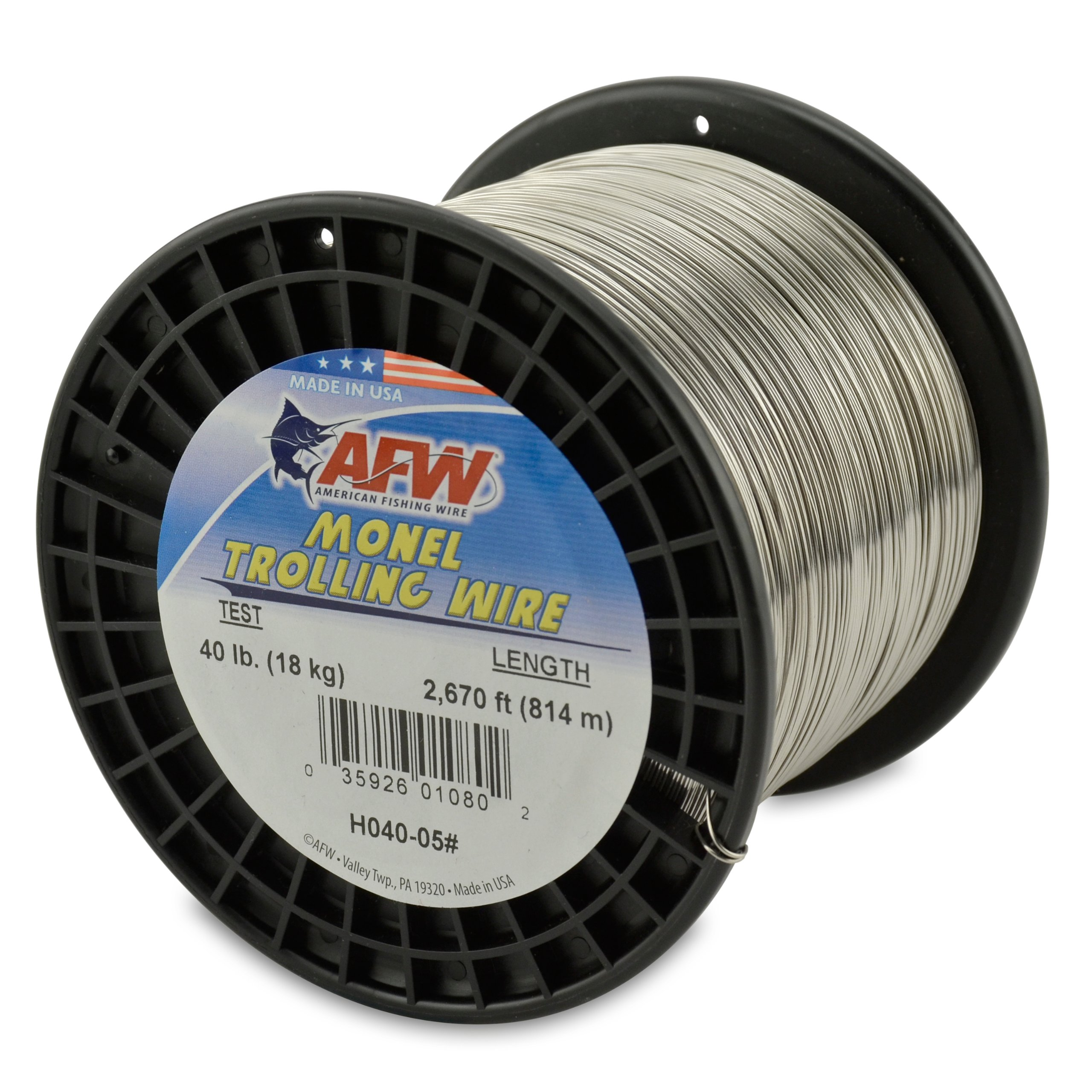 American Fishing Wire Monel Trolling Wire, 40-Pound Test/0.63mm Dia/813m by American Fishing Wire
