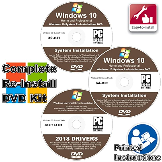 Windows 10 All-In-1 32 & 64 bit Reinstall Install DVD Disc Home and  Professional - 2018 Universal Driver Install Disc - No Internet Needed - 2  Disc