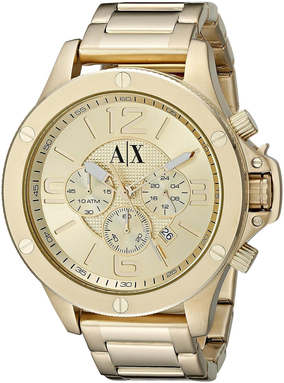 armani exchange ax1504 48mm gold steel bracelet case mineral armani exchange ax1504 48mm gold steel bracelet case mineral men s watch amazon co uk watches