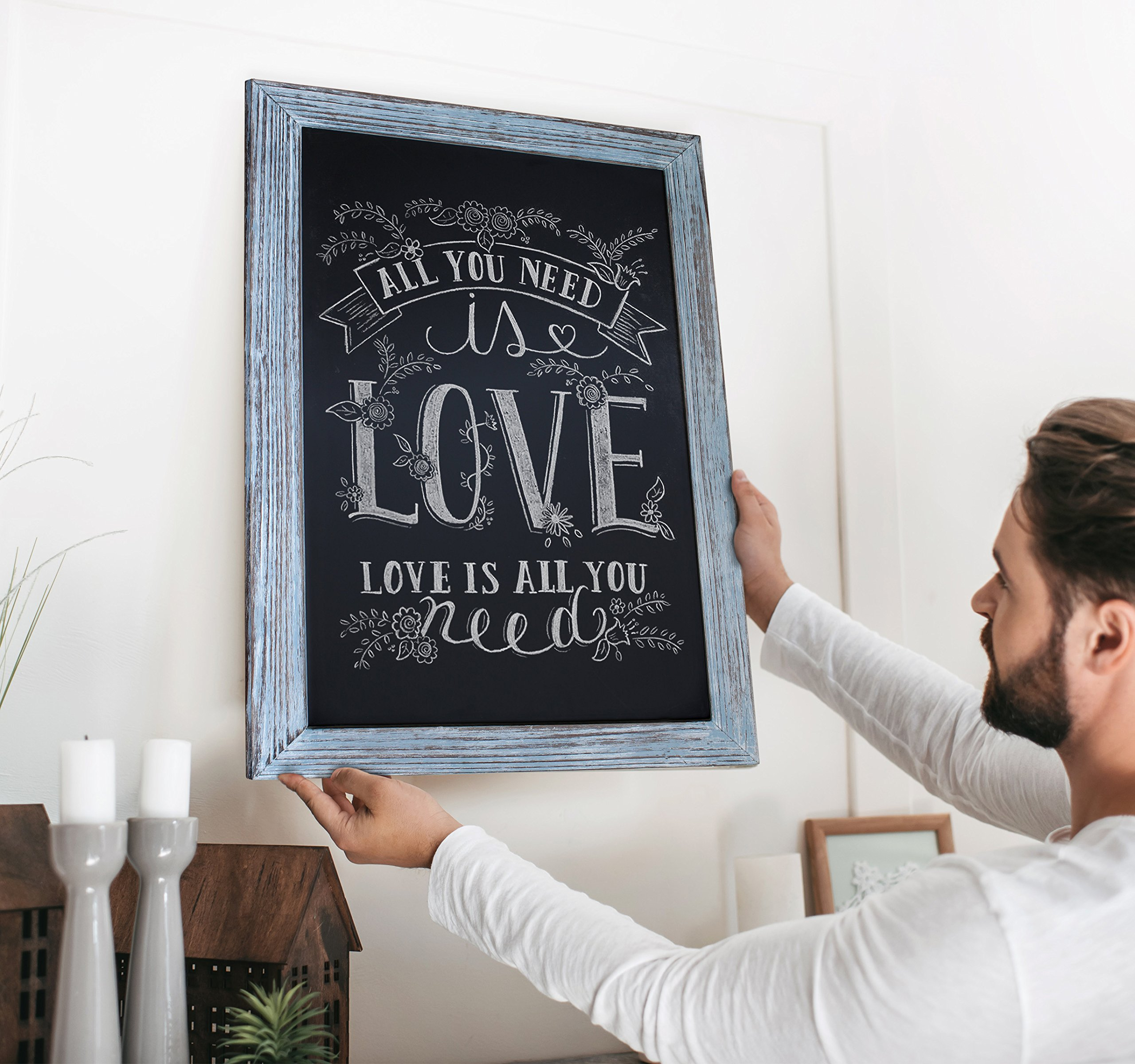 Rustic Blue Magnetic Wall Chalkboard, Extra Large Size 20'' x 30'', Framed Decorative Chalkboard - Great for Kitchen Decor, Weddings, Restaurant Menus and More! … (20''x30'') by HBCY Creations (Image #6)