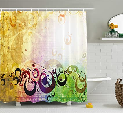 Ambesonne Yellow Shower Curtain Old Grunge Messy Retro Display With Abstract Bubble Like Shapes Antique