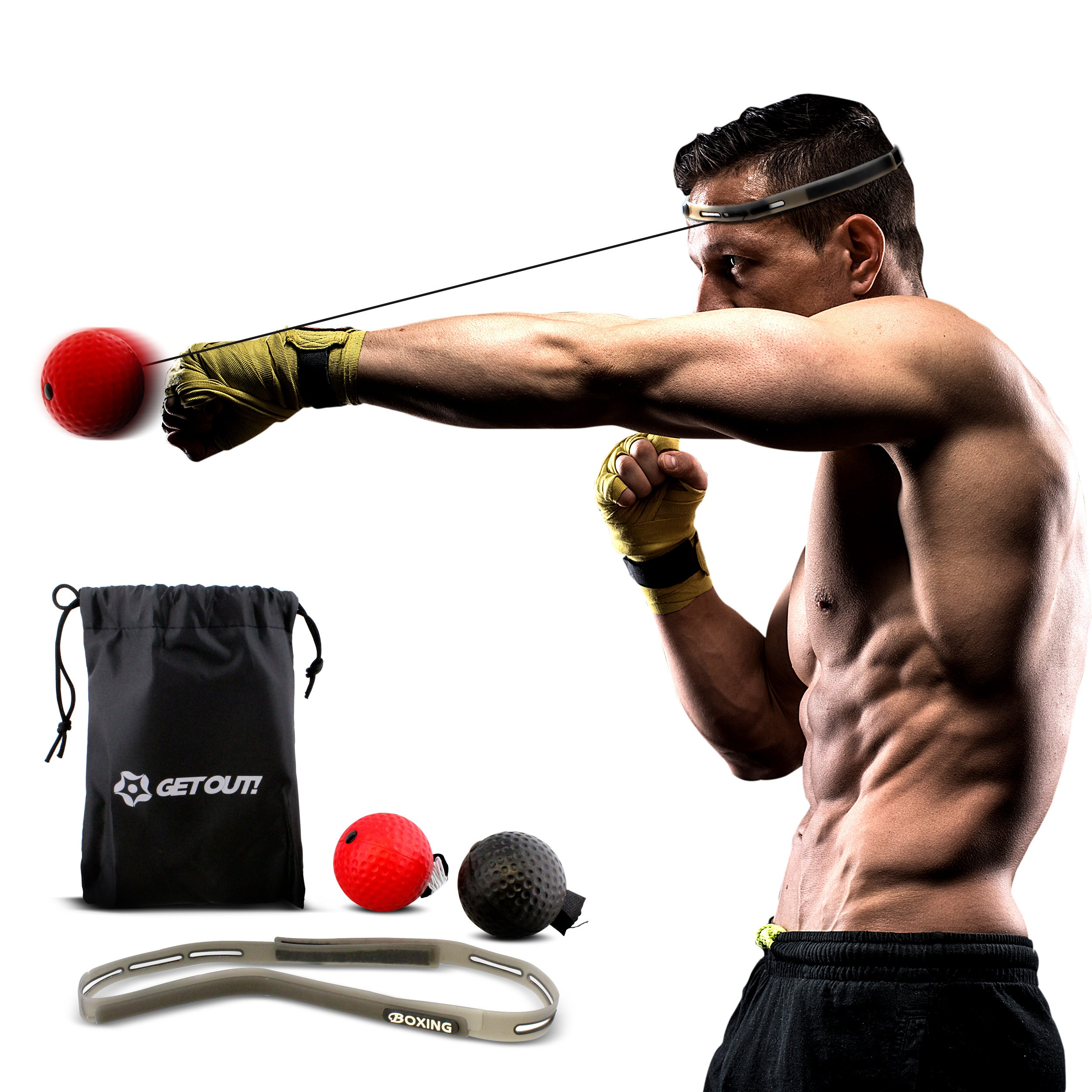 Get Out! Boxing Reflex Ball Set – Agility Training Headband Boxing Ball on String, Boxing Training Reaction Ball by Get Out!