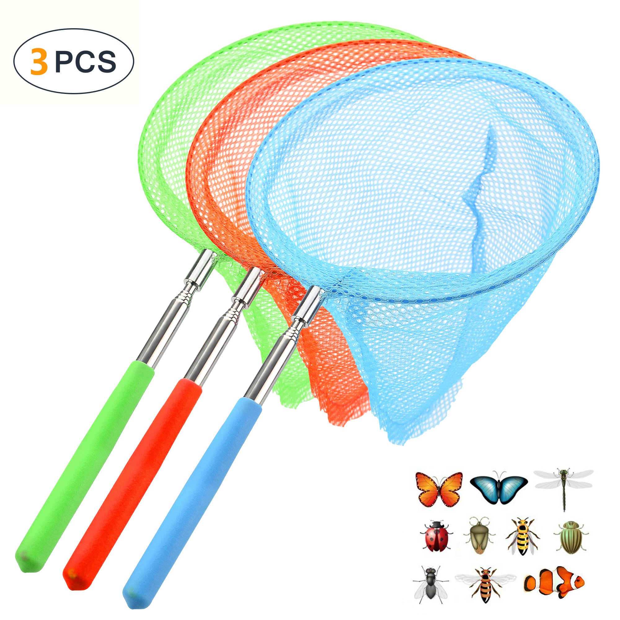 PiscatorZone Children Toy Net for Catching Butterflies Insects Bugs and Small fish, Kids Play Net with Extendable and Anti Slip Grip, Perfect Festival Gift-PACK OF 3