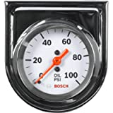 Actron SP0F000044 Bosch Style Line 2' Mechanical Oil Pressure Gauge (White Dial Face, Chrome Bezel)
