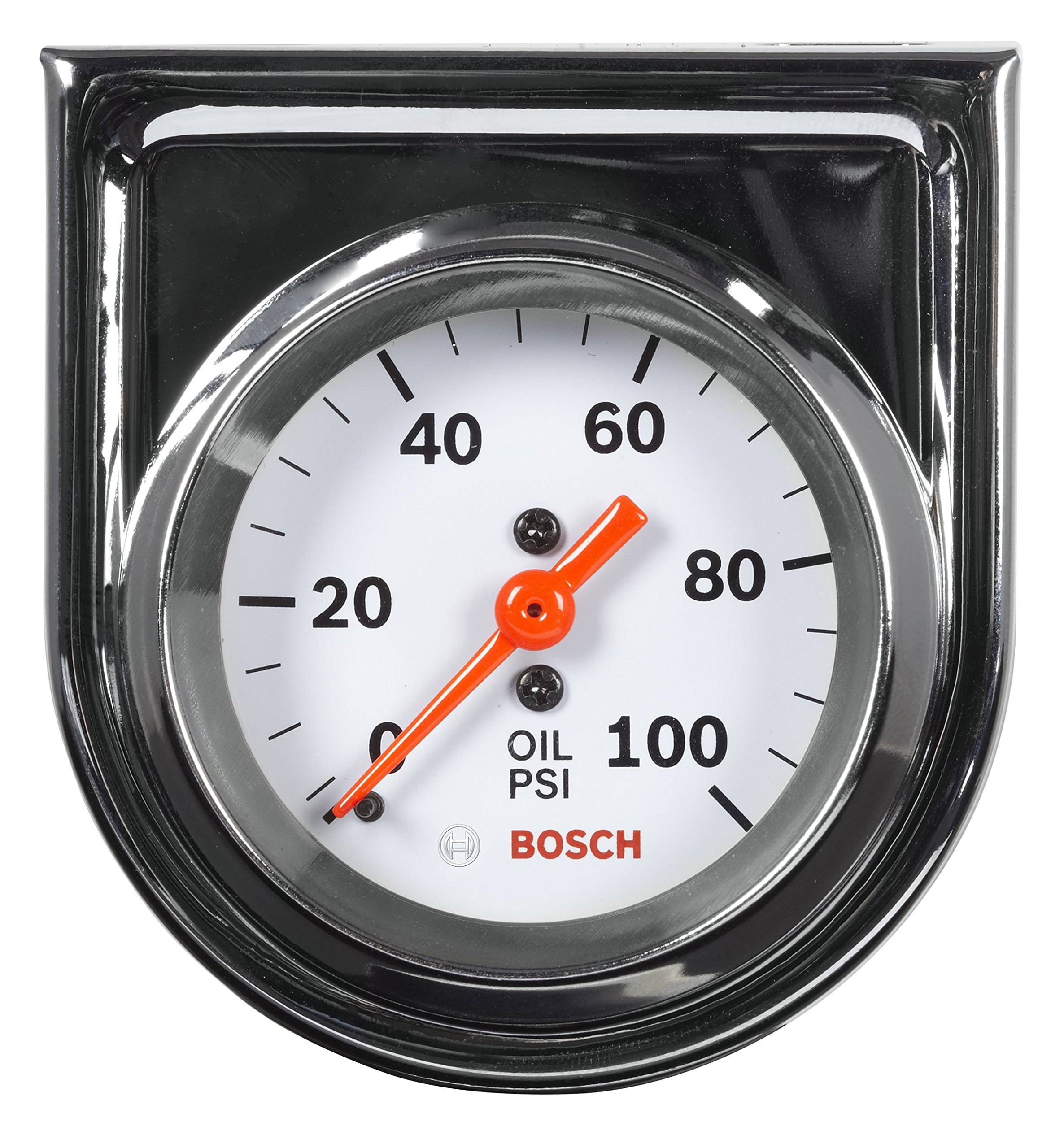 Bosch SP0F000044 Style Line 2'' Mechanical Oil Pressure Gauge (White Dial Face, Chrome Bezel) by Bosch Automotive