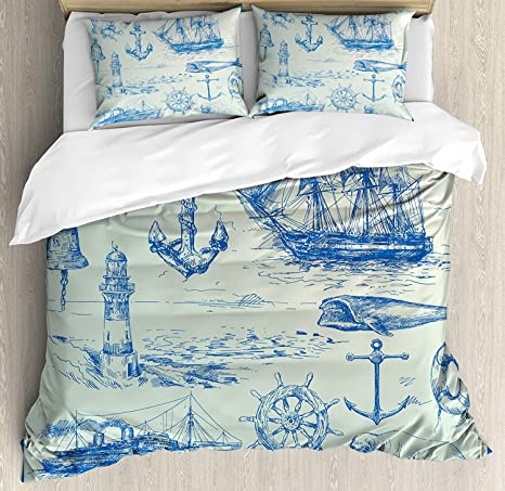 Sailboat Bedding Set Nautical Decor Duvet Cover King Size Blue Retro Sailboat Bedding Soft Duvet Cover Compass Anchor Pattern Decor Comforter Cover Soft Breathable Quilt Cover for Adult Teens Kids