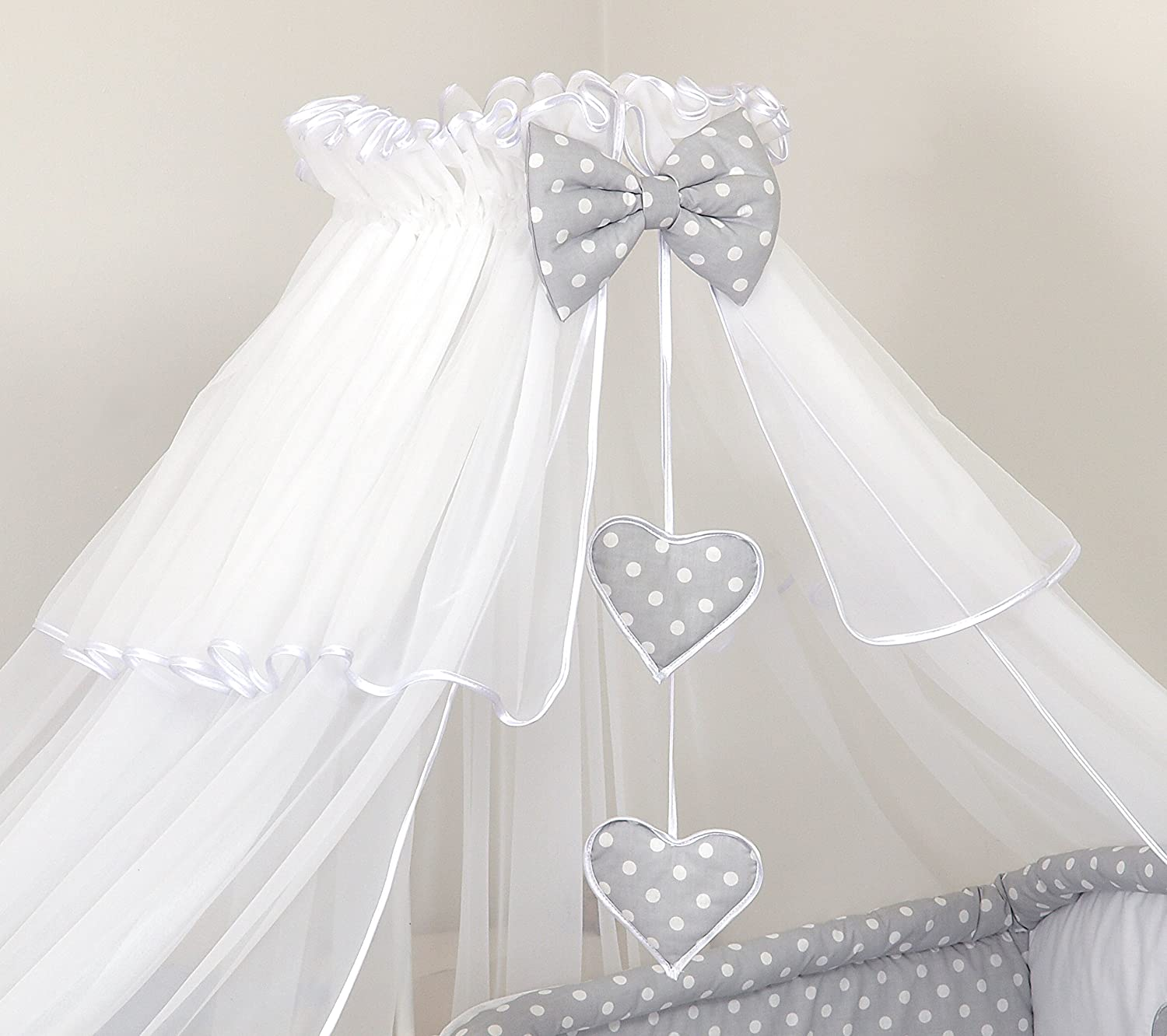 LUXURY CANOPY DRAPE + FREE STANING HOLDER BABY COT BED ROD MOSQUITO NET CANOPIES (White) PRO COSMO