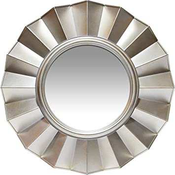 Amazon Com Infinity Instruments Ruffled Round Mirror 20 Inch Sunburst Mirror Silver Mirror Decorative Wall Art Circular Large Modern Frame Starburst Accent Deco Mirrors Decor Circle Furniture Decor