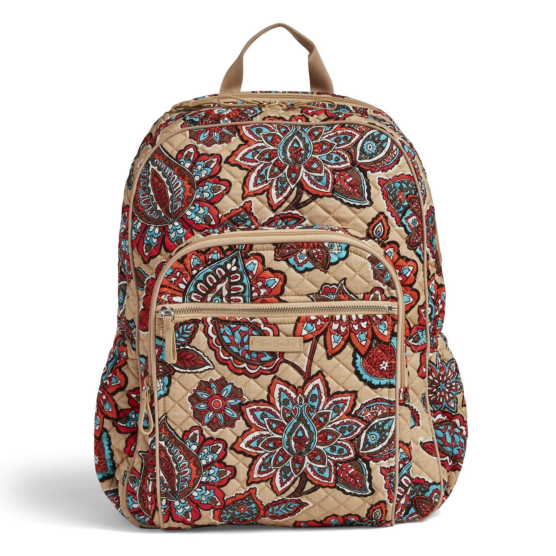 Vera Bradley Iconic Campus Backpack, Signature Cotton, Desert Floral + 1.50 Power