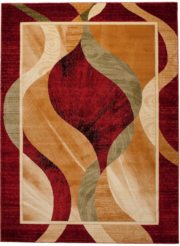 Carpeto Klassisch Teppich Rot 180 x 260 cm Wellen Muster Kirtan Kollektion