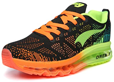 ONEMIX Mens Air Cushion Outdoor Sport Running Shoes Lightweight Casual  Sneakers Black/Green US 8.5