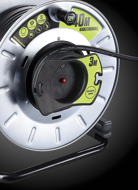 Masterplug Pro Xt Metall Reverse Kabeltrommel Mit Einer Wetterfesten Schukoverlängerung 40 3 Meter Gummikabel Baumarkt