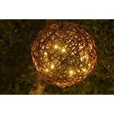 "Willowbrite Globe (12"" globe filled with 100 Warm White LEDs) Natural Willow Branch Pendant Lamp, Christmas Decor, Night Globe, Tree Light Ball, Holiday, Patio, Outdoor, rattan, grape"