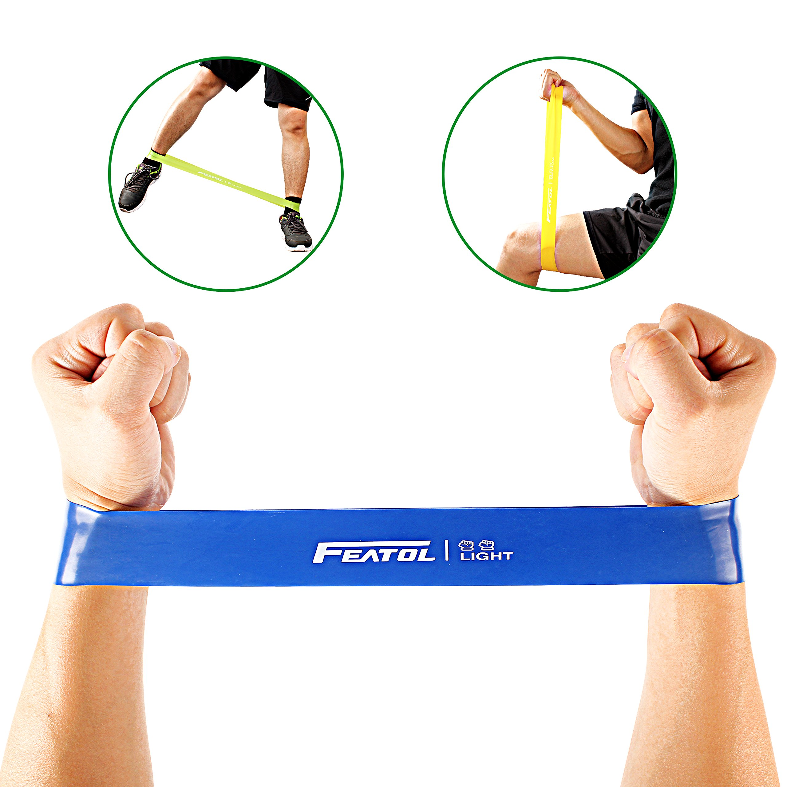 FEATOL Resistance Loop Bands- Set of 5 Premium Exercise Bands - Home& Gym Workout Bands for Yoga, Stretching and Physical Therapy, Suitable for Women and Men, Includes Exercise Guides& Handy Carry Bag by FEATOL (Image #3)