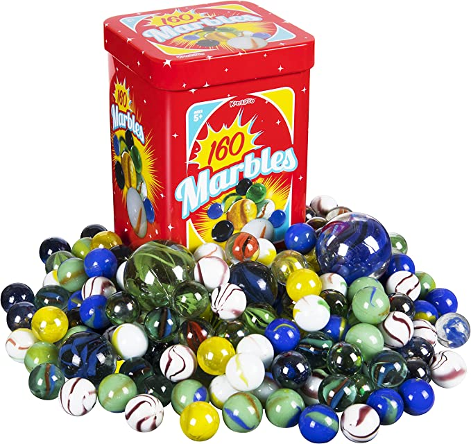 Regal Games 160 Count Traditional Glass Marbles with a Storage Tin 3 Sizes Variety of Patterns