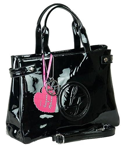 fc81db56ed576 LF London Fashion Damen Handtasche Henkeltasche Lack Tasche Schwarz Beige ( Schwarz)