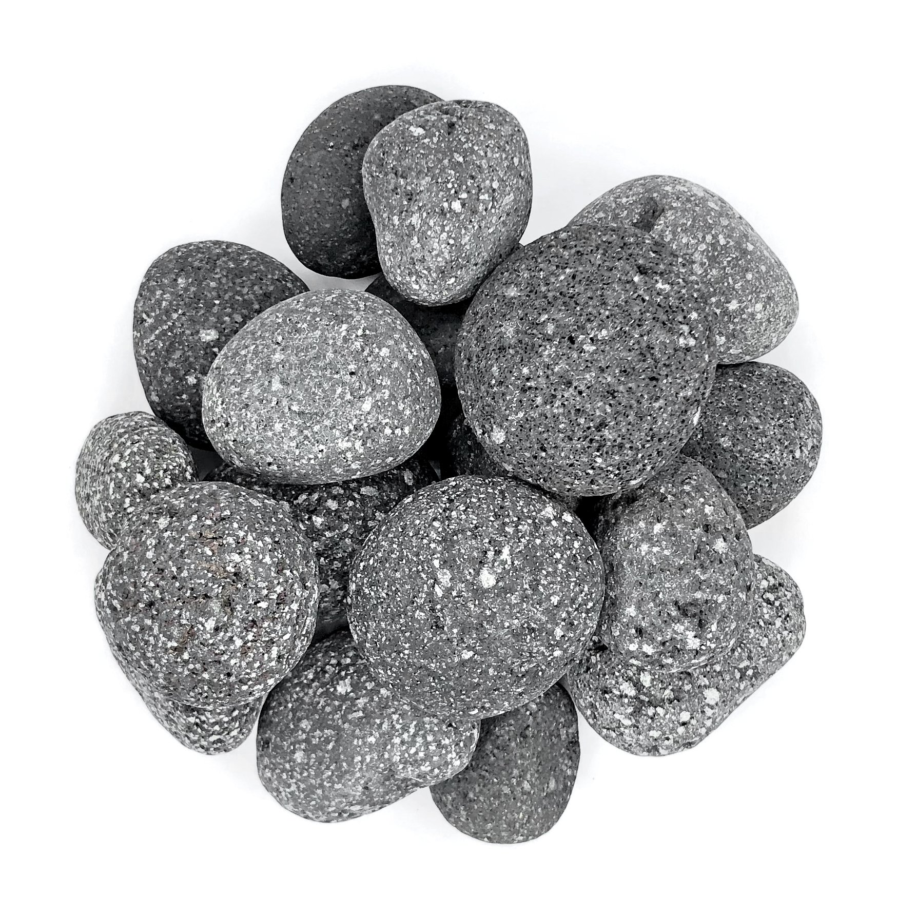 Royal Ram 2 Pounds Natural Lava Stones - 1'' to 2'' Round Pebbles - Heatproof, Perfect For Fire Pits, Fire Places, BBQ, Indoor/Outdoor Use