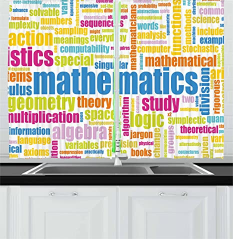 Ambesonne Mathematics Classroom Decor Kitchen Curtains, Math Related  Different Words Conceptual Terminology Collection, Window Drapes 2 Panel  Set for