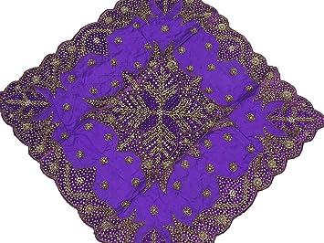 Fancy Purple Velvet Table Linens   Decorative Designer Tablecloth Gold  Beaded Overlay ~ 40 Inch X