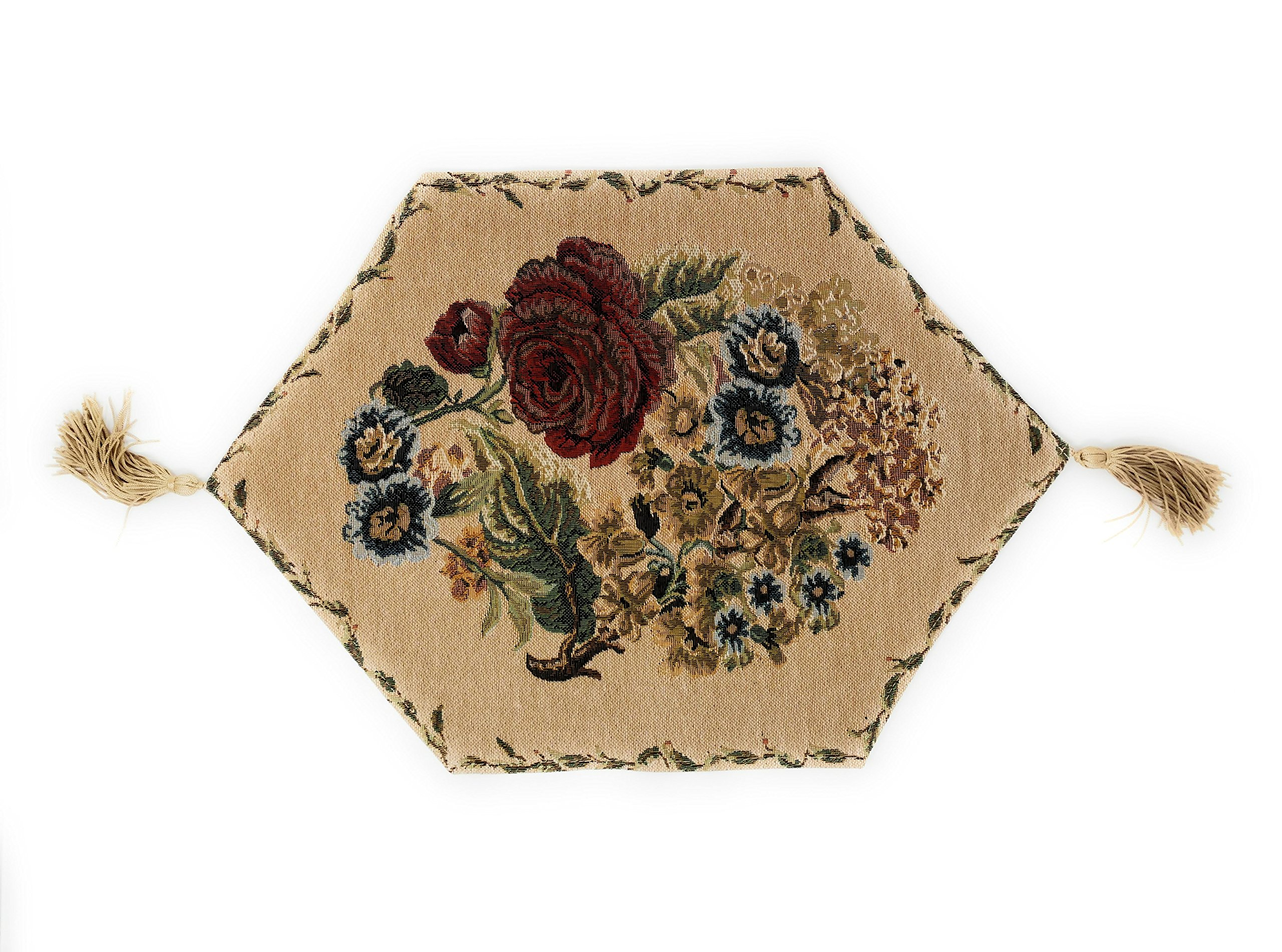 Tache Floral Table Runner Placemat   Morning Meadow   Tapestry Colorful  Country Rustic Table Linen With Tassels   13 ...