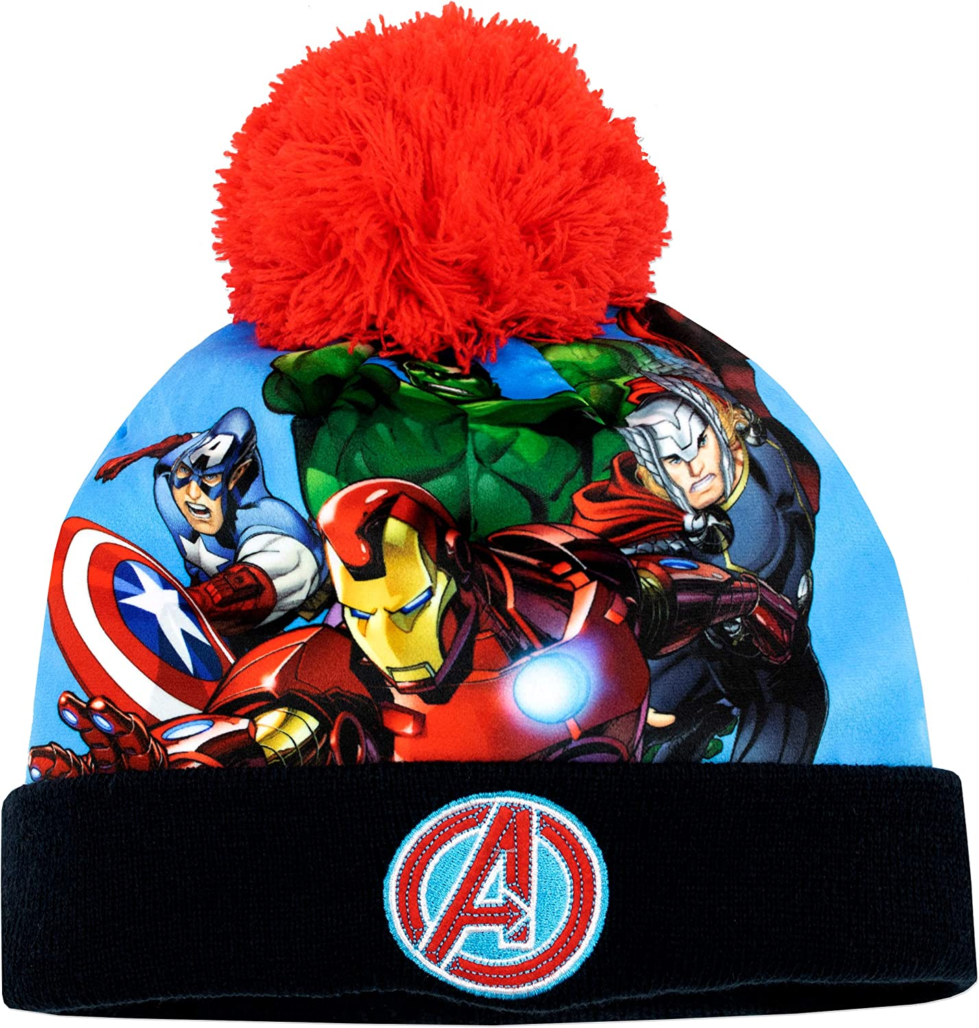 Marvel Boys Avengers Woolly Hat Scarf Gloves Winter Set Kids Xmas Gift Size