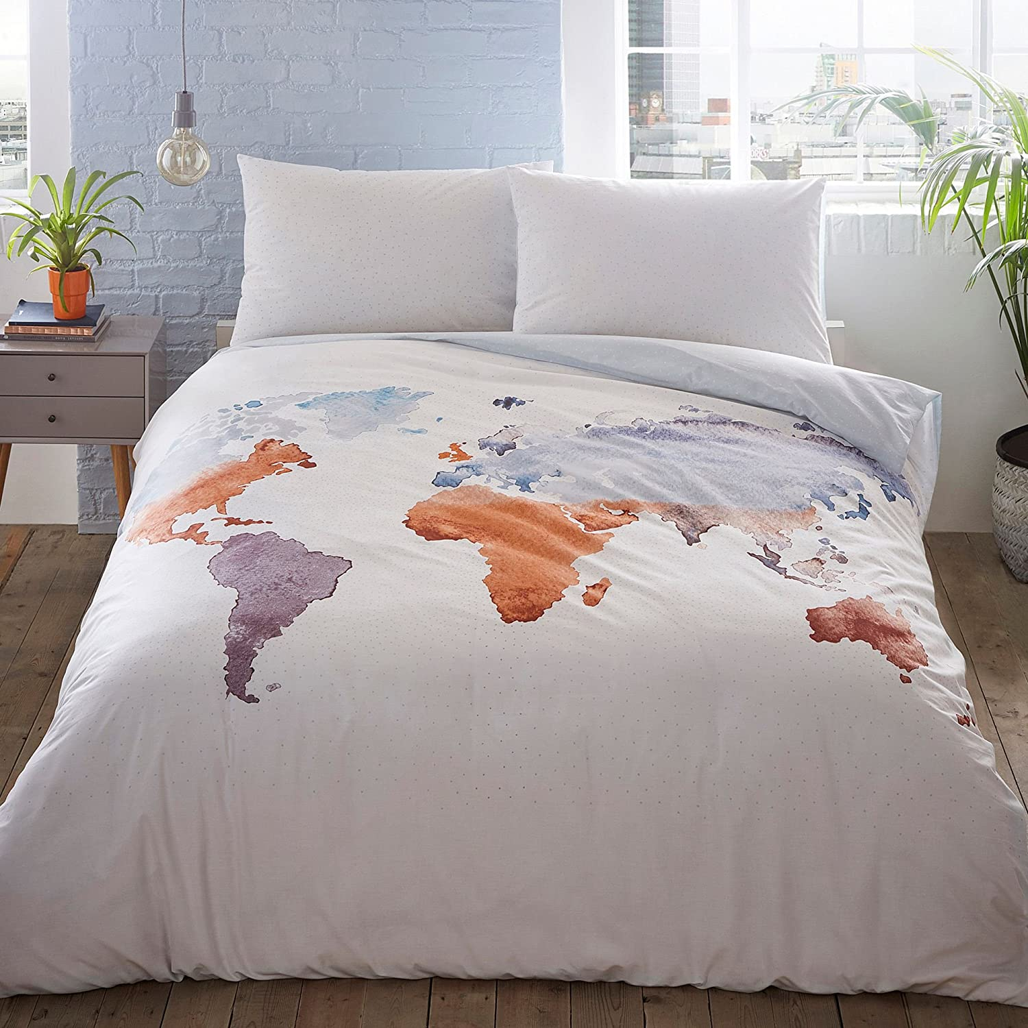Debenhams Home Collection Basics White 'Watercolour Map' Bedding Set Double
