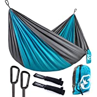 Foxelli Camping Hammock – Lightweight Parachute Nylon Portable Hammock with Tree Ropes and Carabiners, Perfect for Outdoors, Backpacking, Hiking, Camping, Travel, Beach, Backyard & Garden