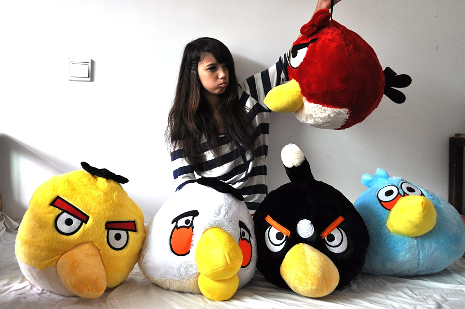 Giant Big Size Rare 50 Cm / 20 Inch Angry Birds Classical 5 Colors Red  Black White Blue Yellow Bird Plush Doll Toy: Amazon.co.uk: Toys & Games