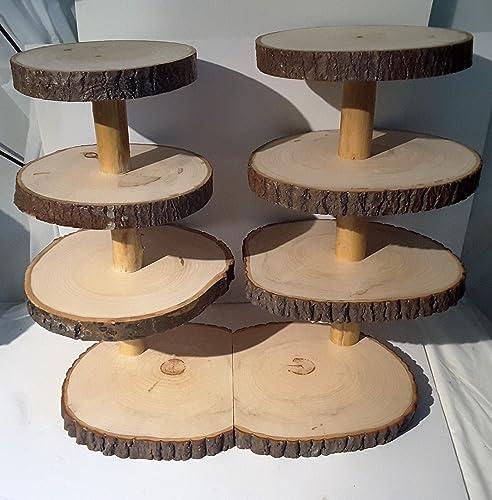Amazon.com: Large Rustic cupcake stand, 7 tier tree slice display ...