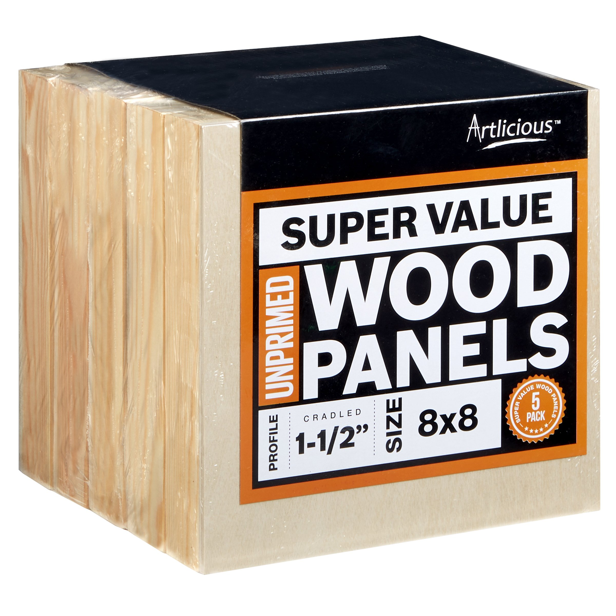Artlicious - 5 Gallery Profile Super Value Wood Panel Boards - Great Alternative to Canvas Panels, Stretched Canvas & Canvas Rolls (8x8, Gallery Profile) by Artlicious