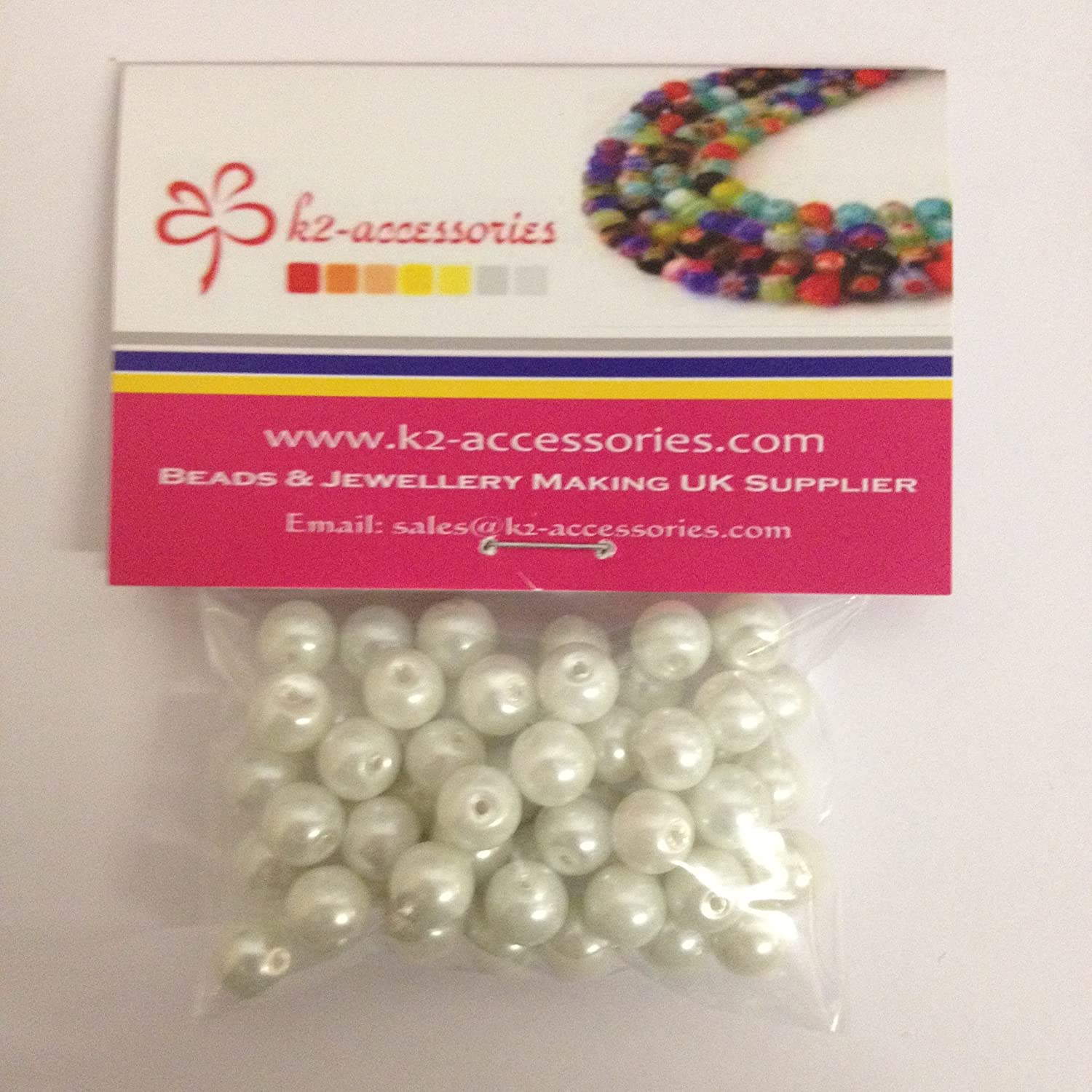 A1012 100 pieces 8mm Glass Pearl Beads White