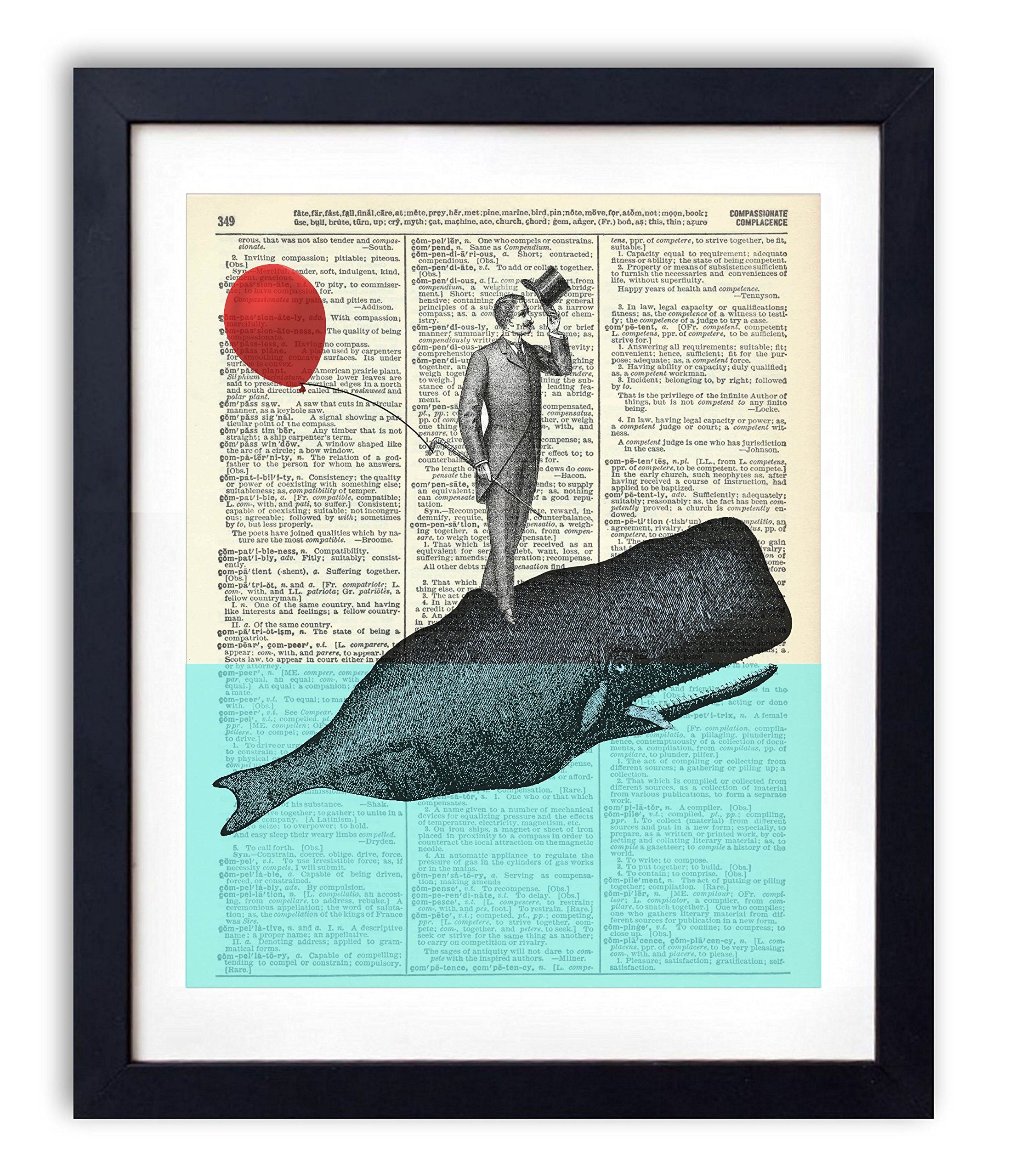 A Whale Of A Good Time - Upcycled Vintage Dictionary Art Print 8x10