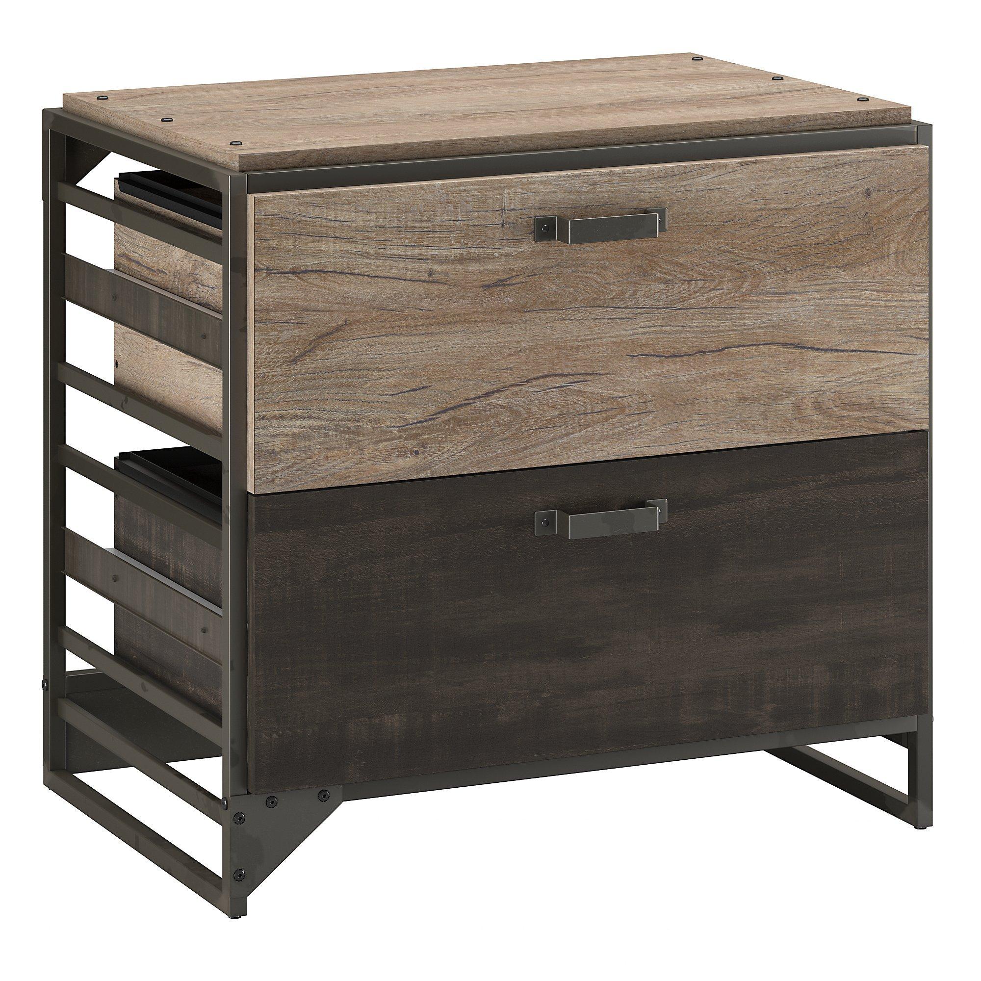 Bush Furniture Refinery Lateral File Cabinet in Rustic Gray