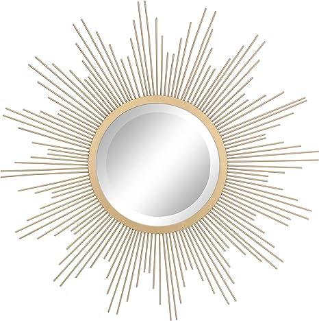 Sunburst Wall Mirror Antiqued Bronze Home Decor Art Deco Style Mirror