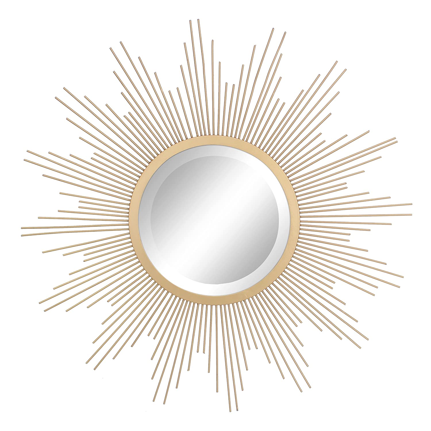 """Stonebriar Round Decorative Antique Gold 24"""" Metal Starburst Hanging Mirror for Wall, Modern Boho Decor for the Living Room, Bathroom, Bedroom, and Entryway"""