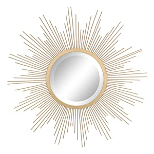 "Stonebriar Round Decorative Antique Gold 24"" Metal Starburst Hanging Mirror for Wall, Modern Boho Decor for the Living Room, Bathroom, Bedroom, and Entryway"