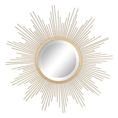 Stonebriar Round Decorative Antique Gold 24  Metal Starburst Hanging Mirror for Wall, Modern Boho Decor for the Living Room, Bathroom, Bedroom, and Entryway