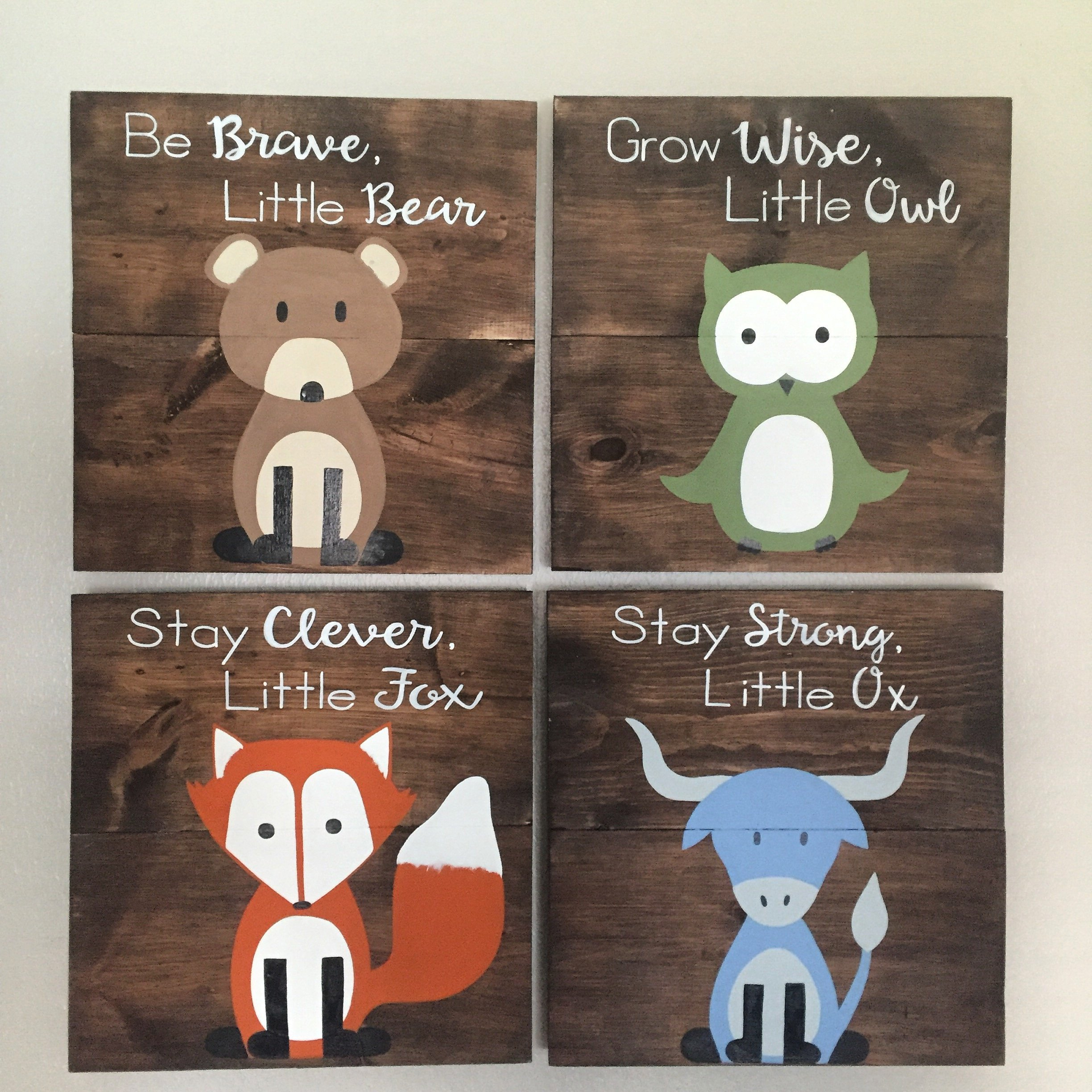 14x14 Set of 4 Woodland Animal Nursery Signs Nursery Decor Baby Shower Gift or Baby Decor Clever little fox