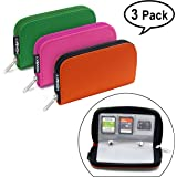 Memory Card Holder, HONSKY 3 Set 22 Slot SD CF SDHC SDXC MMC Micro SD SecureDigital Memory CompactFlash Cards Carrying Cases & Sleeves Bags Media Storage & Organization Rose Red, Orange, Green