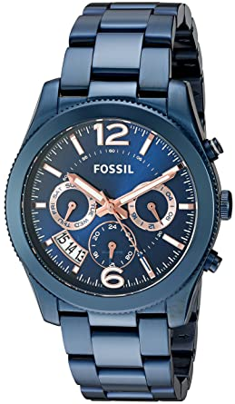 26746f594 Fossil Women's Perfect Boyfriend Quartz Stainless Steel Chronograph Watch,  Color: Blue (Model: