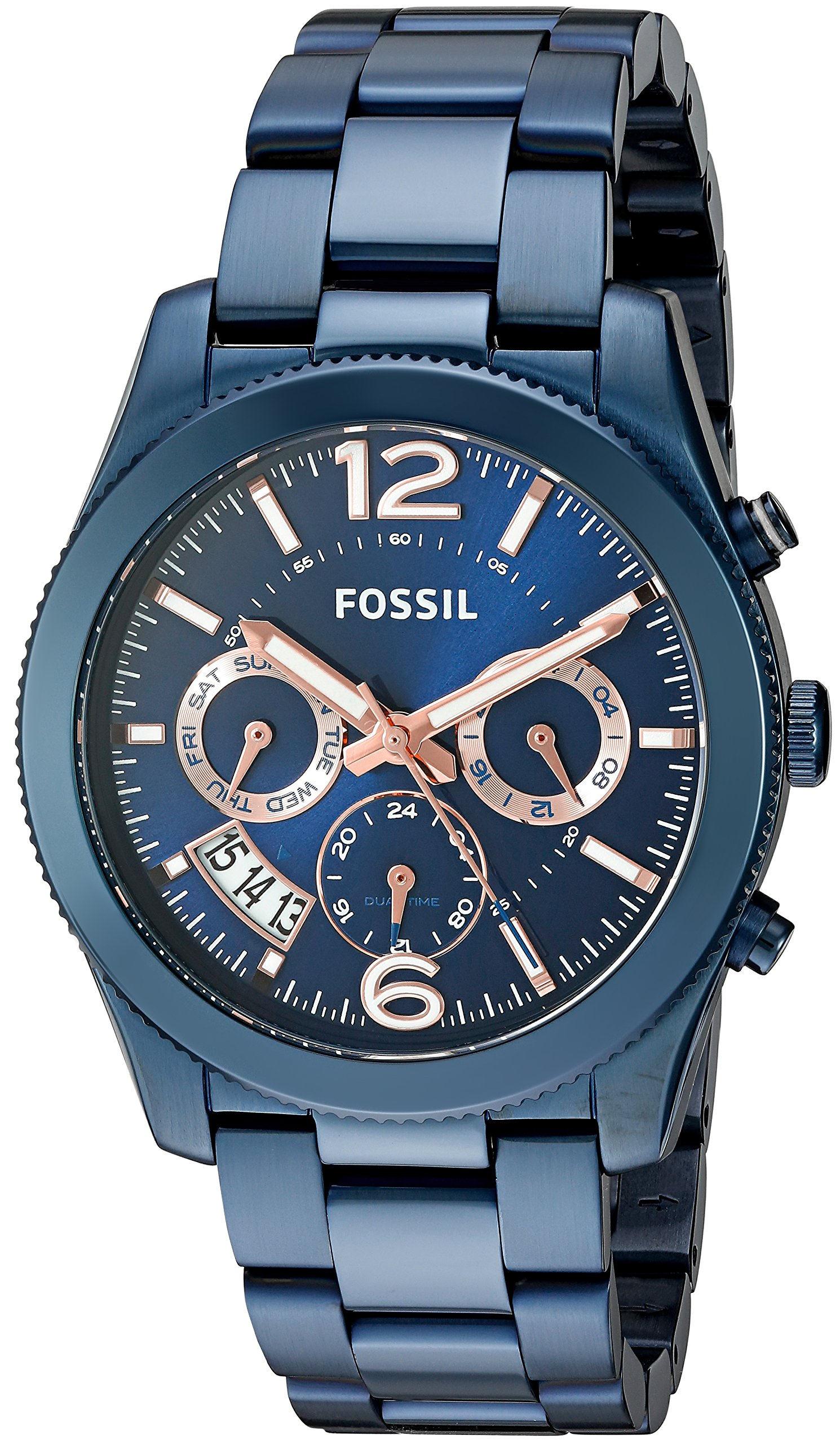 Fossil Women's Perfect Boyfriend Quartz Stainless Steel Chronograph Watch, Color: Blue (Model: ES4093) by Fossil