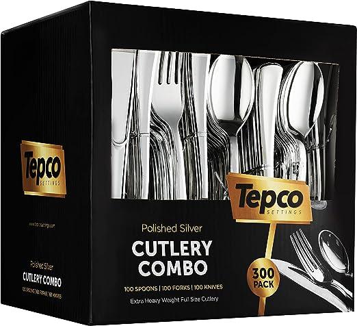 Silverware - Cubertería de plástico de 300 hilos, 100 tenedores de ...