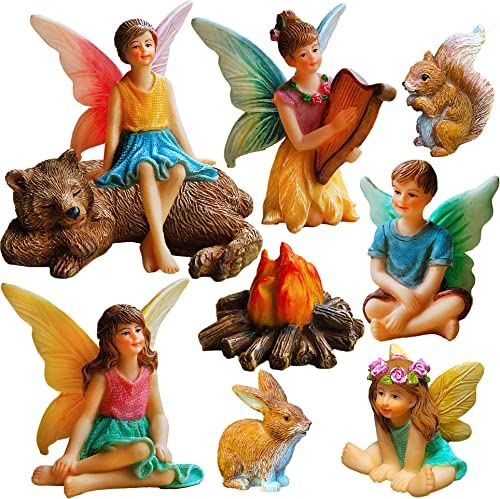 Mood Lab Fairy Garden – Miniature Fairies Figurines Accessories – Camping Kit of 9 pcs – Set for Outdoor or House Decor