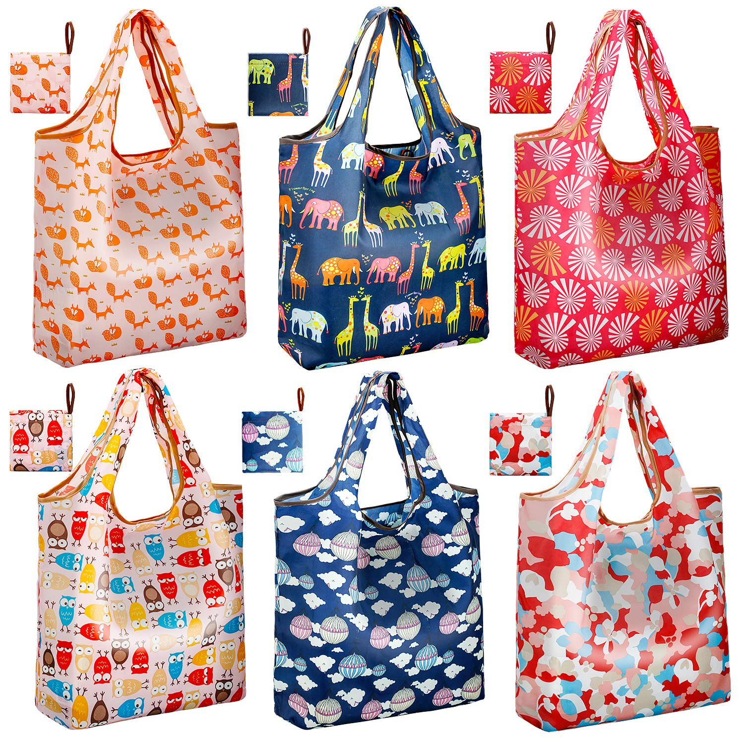 [Thickened Nylon] Reusable Shopping Tote Bags Pack of 6   JARTON Collapsible Reusable Grocery Bags Heavy Duty with 35lbs Weight Capacity