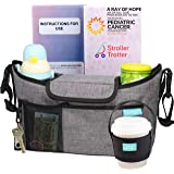 Best Universal Stroller Organizer Grey Diaper Bag + Cup Holder for Cool Parents (Light Grey, L)